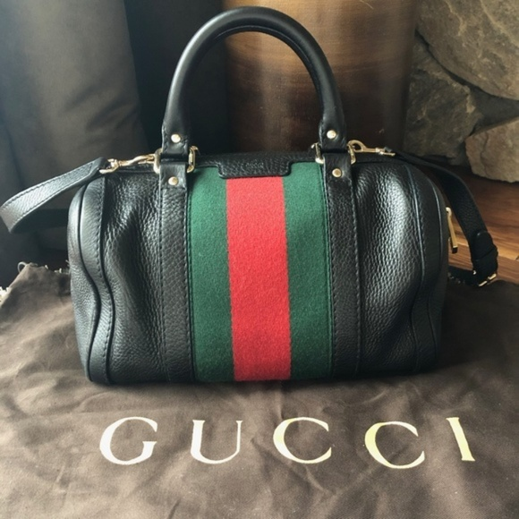 7cee91a2cdbb Gucci Bags | Small Vintage Web Boston Black Leather Bag | Poshmark